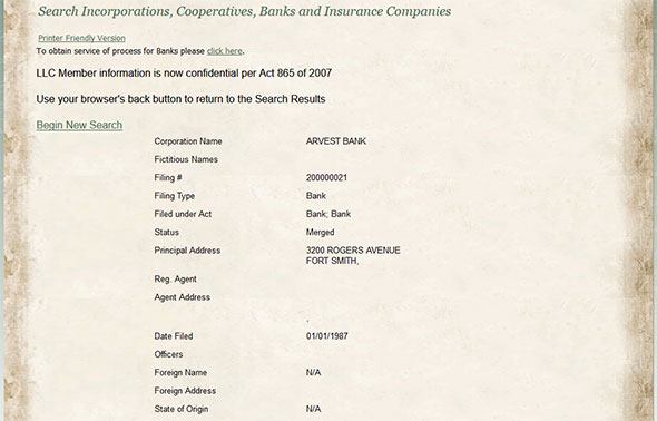 Arkansas Corporation Entity Details
