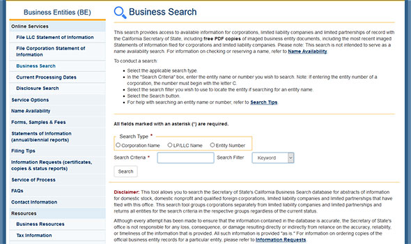 California Business Entity Search