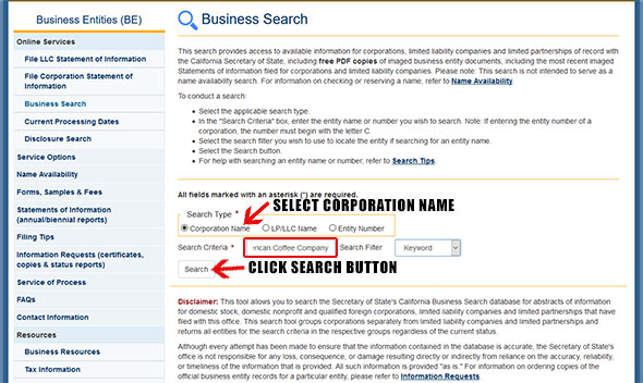 California Corporation Entity Search