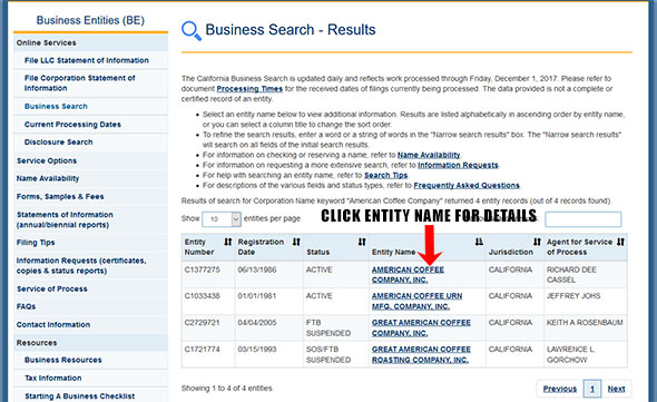California Corporation Entity Search Results