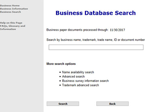 Colorado Business Entity Search