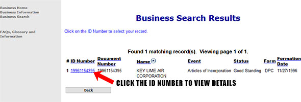 Colorado Corporate Entity Search Results