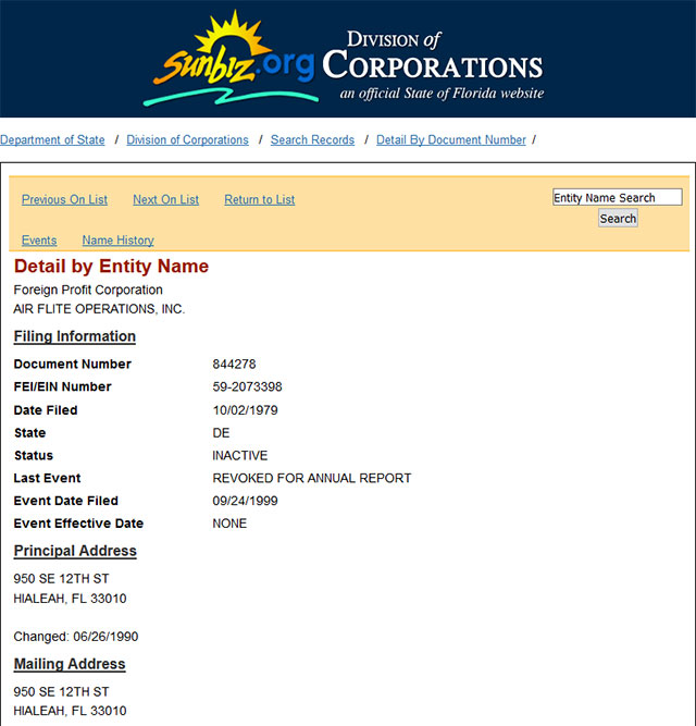 Florida Corporate Entity Details