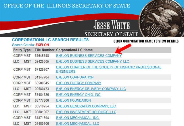 Illinois Corporation Entity Search Results