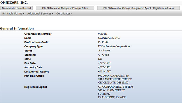 Kentucky Corporation Entity Details