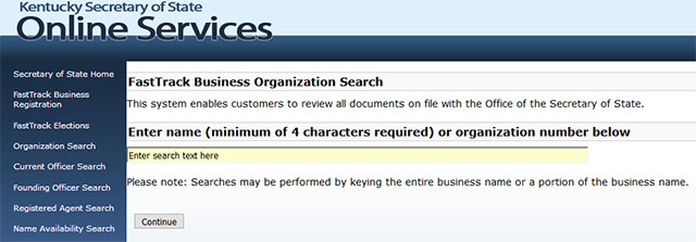 Kentucky Business Entity Search