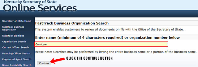 Kentucky Corporation Entity Search