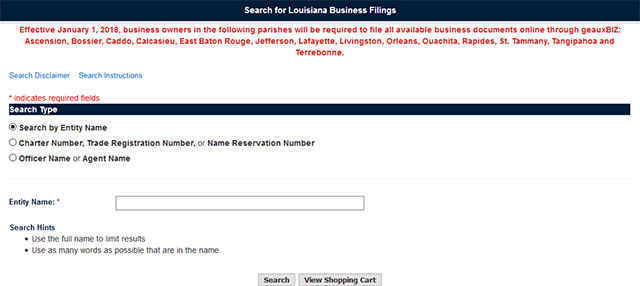 Louisiana Business Entity Search
