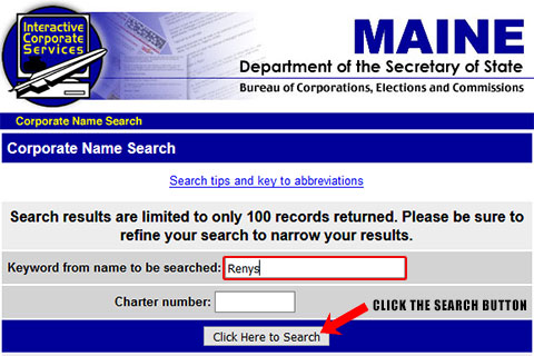 Maine Corporation Entity Search