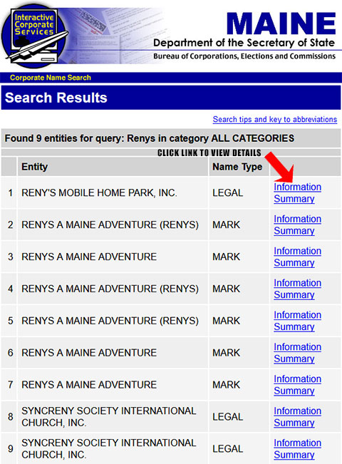 Maine Corporation Entity Search Results