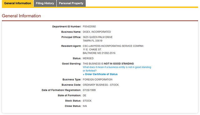 Maryland Corporation Entity Details