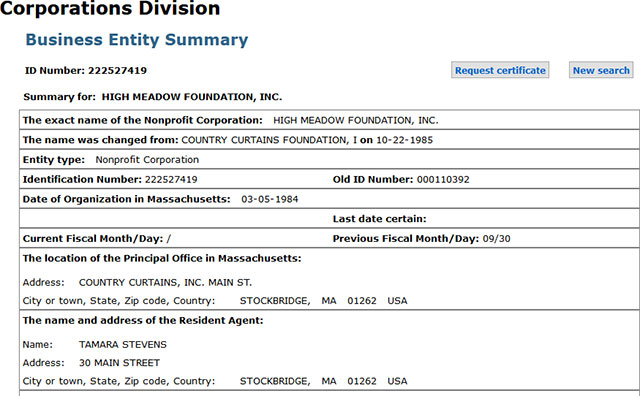 Massachusetts Corporation Entity Details