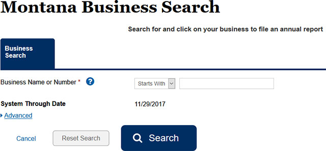 Montana Secretary of State Business Search