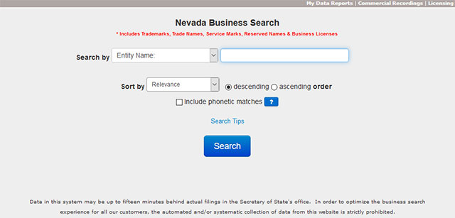Nevada Business Entity Search