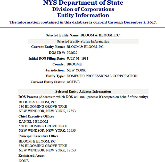 New York Corporation Entity Details
