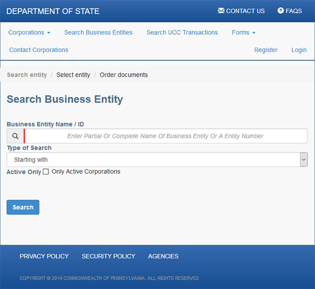 Pennsylvania Business Entity Search