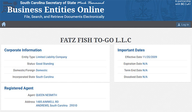 South Carolina Corporation Entity Details