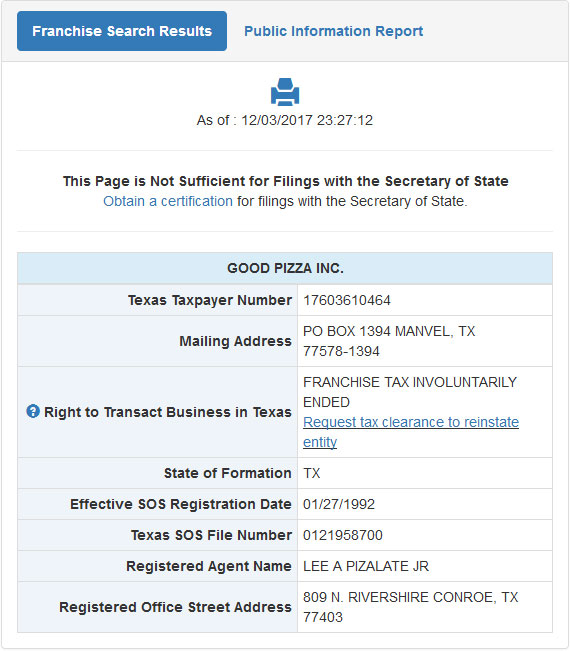 Texas Corporation Entity Details
