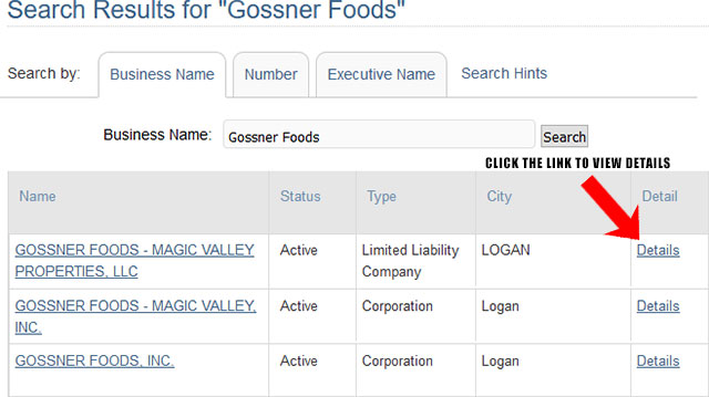 Utah Corporation Entity Search Results