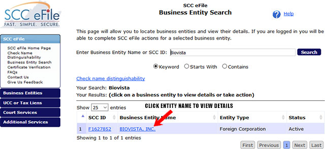 Virginia Corporation Entity Search Results