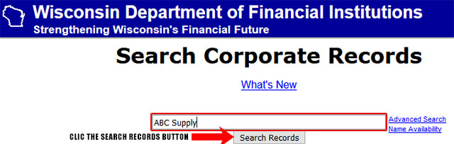 Wisconsin Secretary of State Business Search